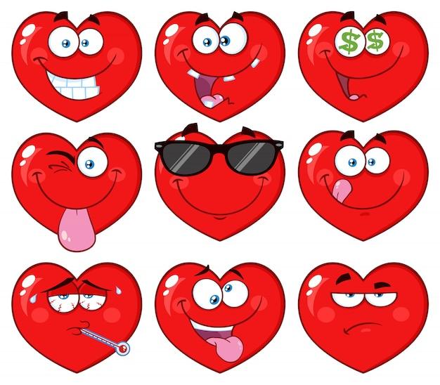 Personagem de rosto emoji coração vermelho dos desenhos animados