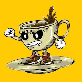 Personagem de rosto irritado dos desenhos animados de café