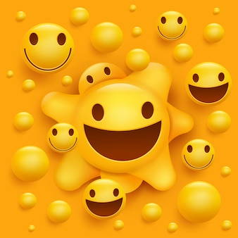 Personagem de rosto sorridente amarelo. estrutura molecular.