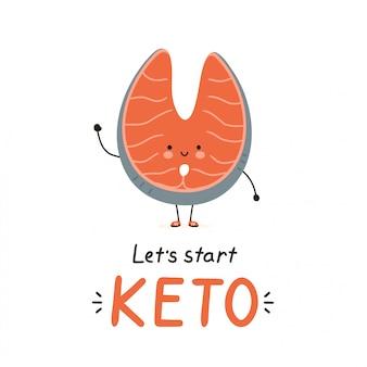 Personagem de salmão bonito peixe vermelho feliz. isolado no branco vector cartoon personagem ilustração cartão design, estilo simples simples. cartão de dieta ceto, conceito de design do banner