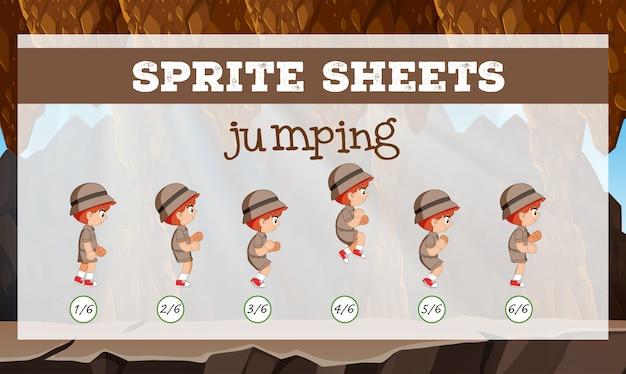 Personagem de salto de folha de sprite