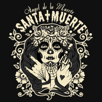 Personagem de santa muerte halloween