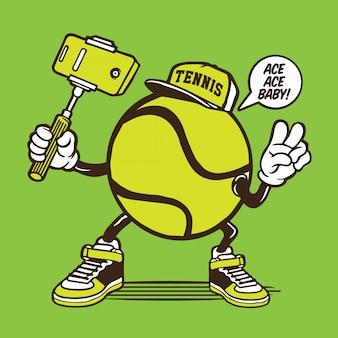 Personagem de selfie de bola de tênis