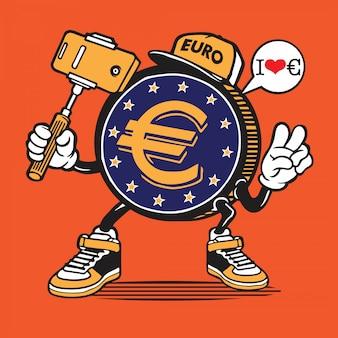 Personagem de selfie de dinheiro de moeda de euro