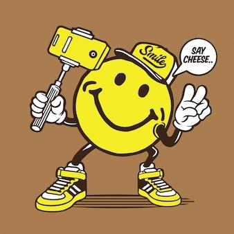 Personagem de selfie de rosto sorridente