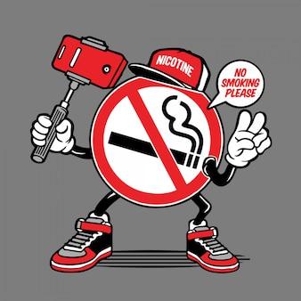 Personagem de selfie de sinal de não fumadores