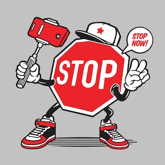 Personagem de selfie de sinal de stop