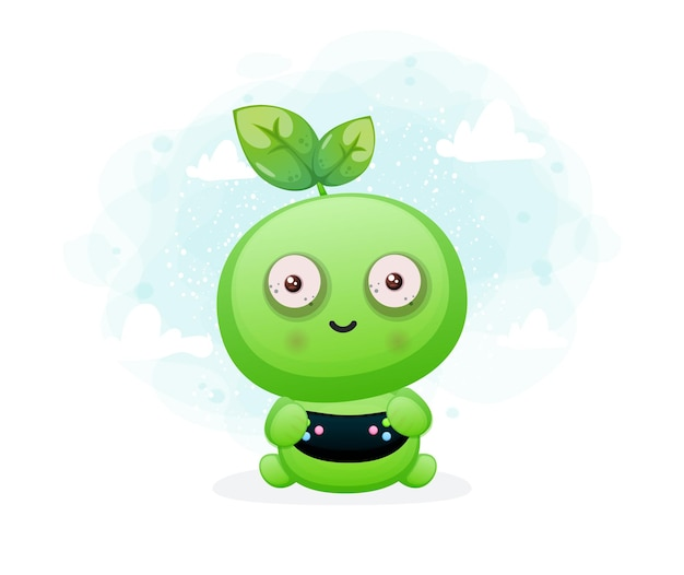 Personagem de semente fofa jogando jogos. personagem de mascote alienígena premium vector