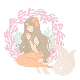 Personagem de sereia com moldura de coral