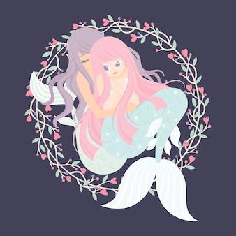 Personagem de sereia com quadro de flores