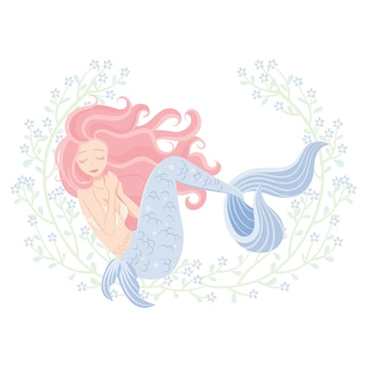 Personagem de sereia de beleza com quadro de flores