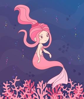 Personagem de sereia rosa