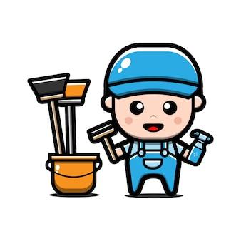Personagem de serviço de limpeza fofo