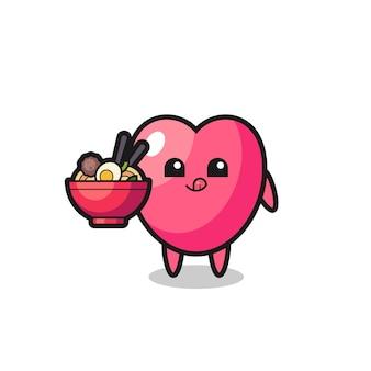 Personagem de símbolo de coração fofo comendo macarrão, design de estilo fofo para camiseta, adesivo, elemento de logotipo