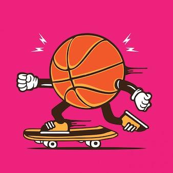 Personagem de skate de skatista de basquete
