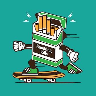 Personagem de skate de skatista de caixa de cigarros