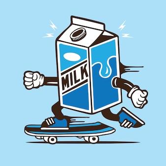 Personagem de skate de skatista de caixa de leite