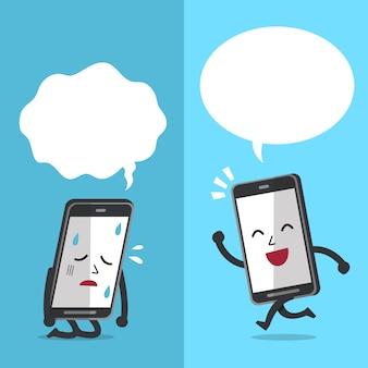 Personagem de smartphone expressando emoções diferentes