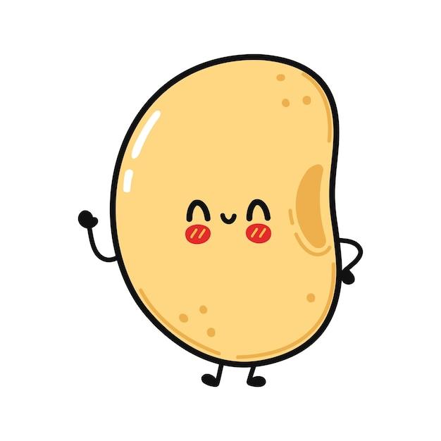 Personagem de soja fofa e engraçada acenando