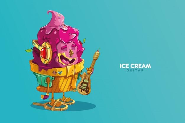 Personagem de sorvete com um cookie de guitarra elétrica