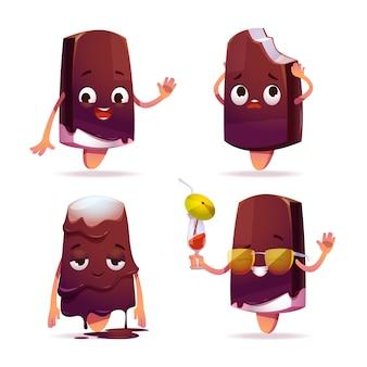 Personagem de sorvete de picolé, torta de esquimó engraçada