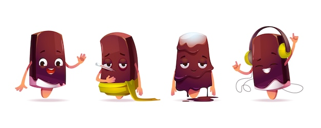 Personagem de sorvete fofo em poses diferentes