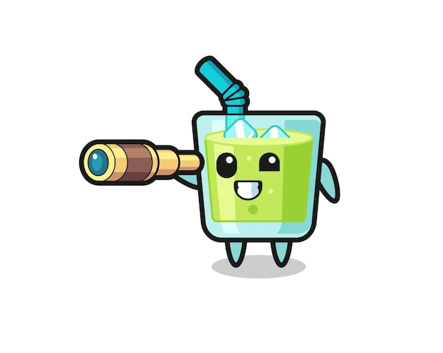 Personagem de suco de melão fofa está segurando um telescópio antigo, design de estilo fofo para camiseta, adesivo, elemento de logotipo