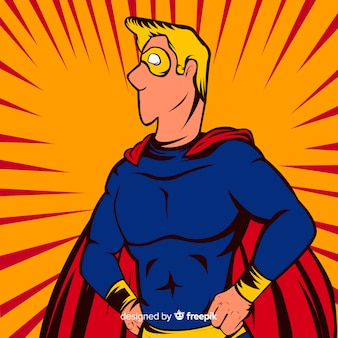 Personagem de super-herói com estilo pop art