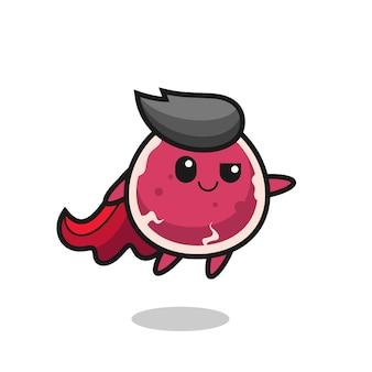 Personagem de super-herói de carne fofa está voando, design de estilo fofo para camiseta, adesivo, elemento de logotipo