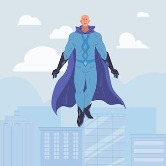 Personagem de super-herói plano de desenho animado em capa voar no céu