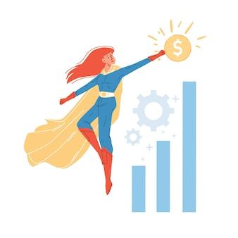 Personagem de super-herói plano de desenho animado voando acima do gráfico de crescimento