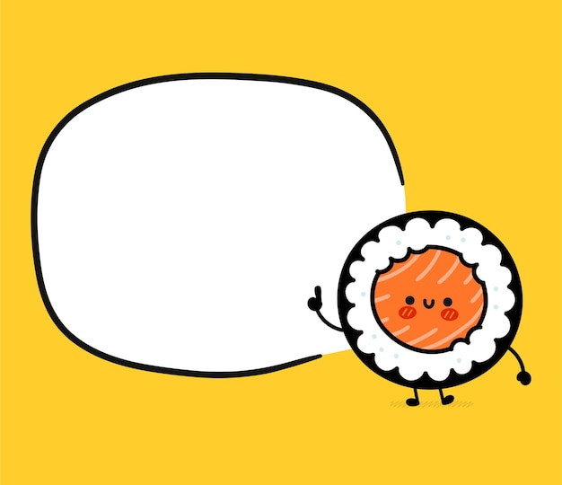 Personagem de sushi roll fofo com caixa de texto