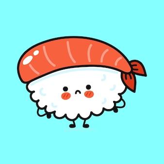 Personagem de sushi triste e engraçado fofo