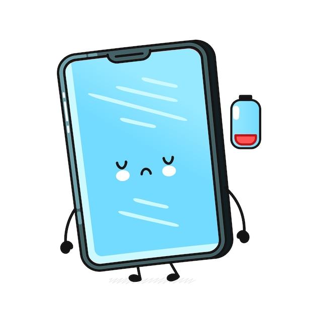 Personagem de telefone celular com bateria vazia