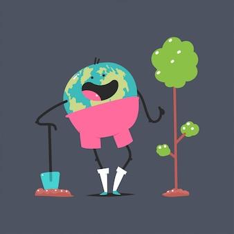 Personagem de terra bonito com pá plantar uma ilustração do conceito de desenho animado de árvore isolada no fundo.