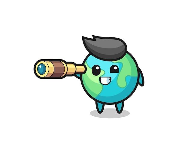 Personagem de terra fofa está segurando um telescópio antigo, design de estilo fofo para camiseta, adesivo, elemento de logotipo