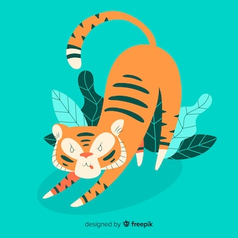 Personagem de tigre linda mão desenhada