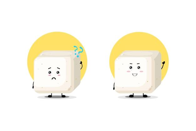 Personagem de tofu fofo com uma expressão confusa e feliz