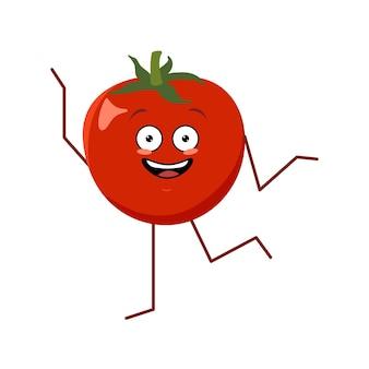 Personagem de tomate com emoções dançando a fruta vermelha engraçada ou triste do herói