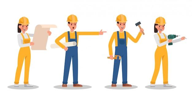 Personagem de trabalhador da construção civil
