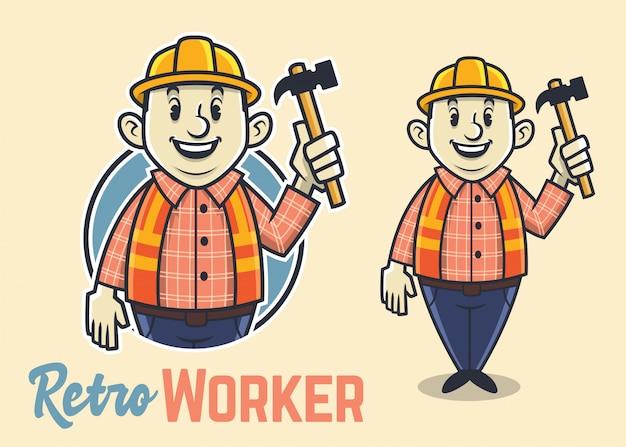 Personagem de trabalhador de construção gorda retrô, mascote construtor vintage, homem engraçado e adorável