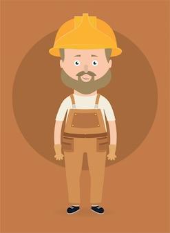 Personagem de trabalhador de construção.