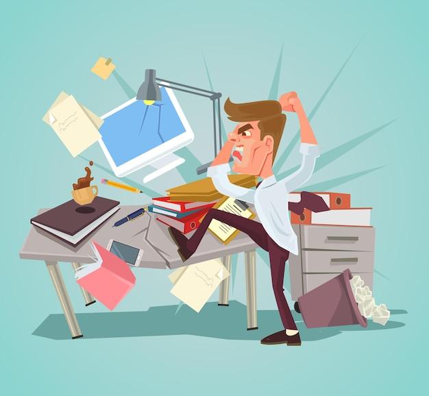 Personagem de trabalhador de escritório com raiva bate no local de trabalho