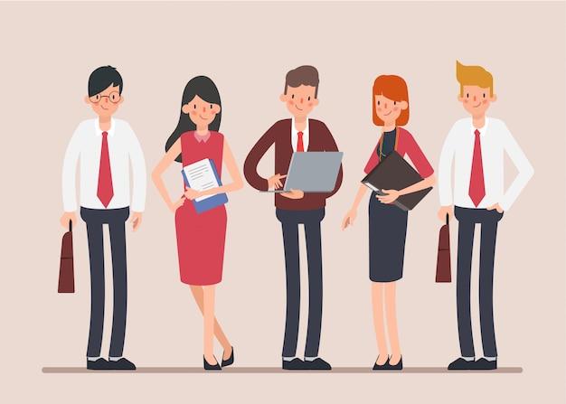 Personagem de trabalho em equipe de pessoas de negócios cena de animação.