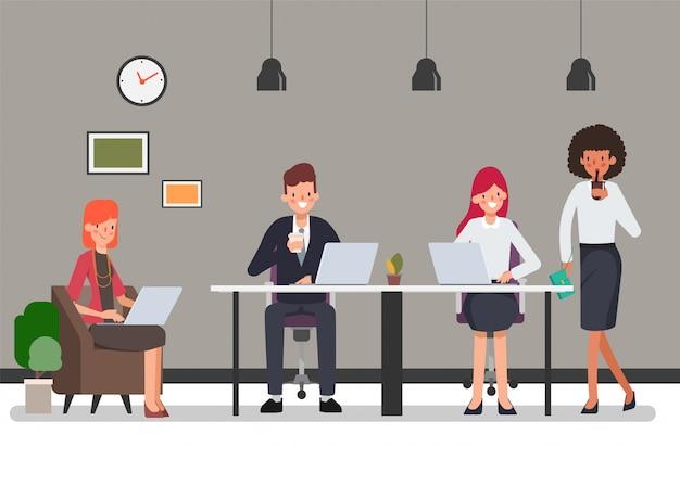 Personagem de trabalho em equipe de pessoas de negócios para a cena de animação.