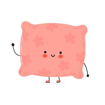 Personagem de travesseiro feliz engraçado fofo