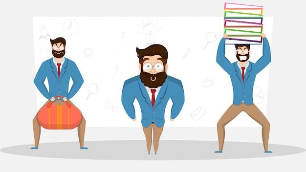 Personagem de três empresário em poses engraçadas.