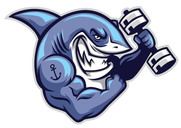 Personagem de tubarão muscular segurar o dumbell