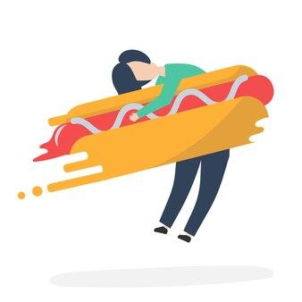 Personagem de um homem abraçando uma ilustração de cachorro-quente de fast-food
