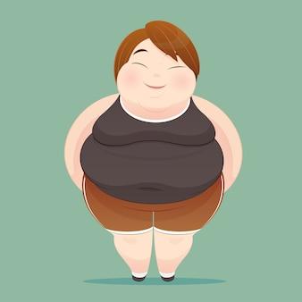 Personagem de uma mulher com excesso de peso, vestida de sportswear